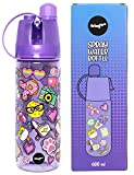 Fringoo - Gourde d'eau pour Enfants Non Toxique et sans BPA |Bouteille d'eau idéal pour école ou Sport | Cadeau Parfait pour Filles - Sourire d'arc-en-Ciel