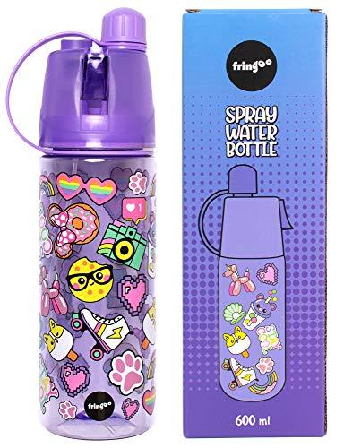 Fringoo - Aerosol para Niños no Tóxico y Botella de Agua Libre de BPA | Botella y Termo de Agua Escuela | Regalo Ideal para los Chicas - Sonrisa de Arcoiris