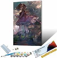 DIY 数字油絵 キャンバスの油絵 かわいい女の子の肖像画 大人の子供のためのギフト 数字キット ト ホームデコレ 30x45cm フレームレス