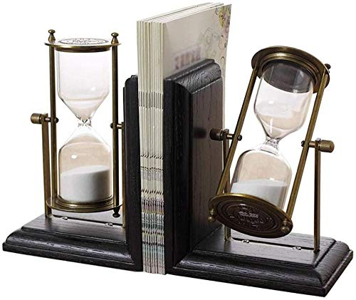 Statues,Book Ends European-Style Solid Wood Timing Hourglass Bookend Home Accessories Book Clip Study Desktop Decoration Book File Wine Cabinet Decoration Decorative Book Stopper