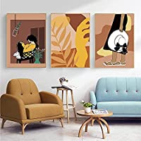 3 Panel Paintings Wall Art Vintage Girl Abstract Canvas Wall Art Boho Plant Leaf Poster Prints Lady Leaf Poster Painting Pictures Home Decoration 40*60Cm*3 With Frame
