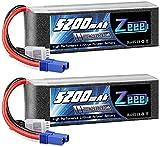 Zeee 4S lipo 14,8V 5200mAh 100C litio Batteria RC batteria, con connectore EC5 spina, per RC FPV Racing UAV Drone Evader BX RC Veicolo Auto LKW Truggy RC Nave RC Modells RC Hobby (2 Batteria)