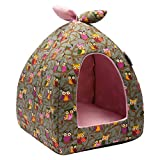 Hollypet Cama de Gato Cama para Mascotas Cama de Gatito, Cueva del Gato Cueva para Animales Gato Bolsa de Dormir, Búho Gris