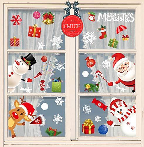 CMTOP Pegatinas de Ventana de Navidad Santa Claus Alce