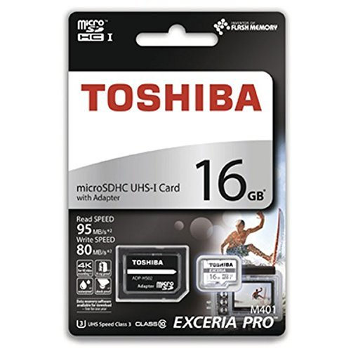 Toshiba 16GB MicroSDHC Exceria Pro UHS-1 Memory Card with 95MB