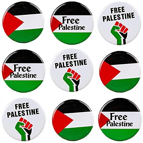 FKXG Insignia De Palestina Gratis - Botones De La Bandera De Palestina Insignias De Pines, Insignias De Libertad De PuñO De La Bandera De Palestina Gratis 9pcs F