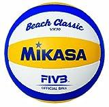 Mikasa VX30 Balón de Voleibol, Beachvolleyball Beach Classic VX 30, Blau/Gelb/Weiãÿ, 1612, Amarillo, 5