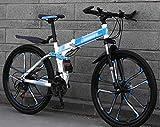 Vélo pliant VTT, 24' unisexe haute teneur en carbone Vélos en acier, à double absorption de choc à vitesse variable hors route VTT, amortissant les chocs Double Student VTT Racing, facile rabattable à