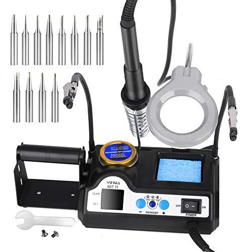 Lötstation,60W Professionelle Digitale Lötkolben Eingestellte Temperatur 90 ° C-480 ° C mit Universalclip (1 Paar), Lupe, Schreibtischlampe, Zinngestell, 12 Lötkolbenspitzen (EU)