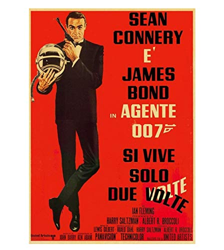 PCWDEDIAN Vintage James Bond Filmplakat 007 Retro Leinwand Wandplakat Für Zuhause/Raum/Bar Gemälde Wanddekoration F147 42X30Cm