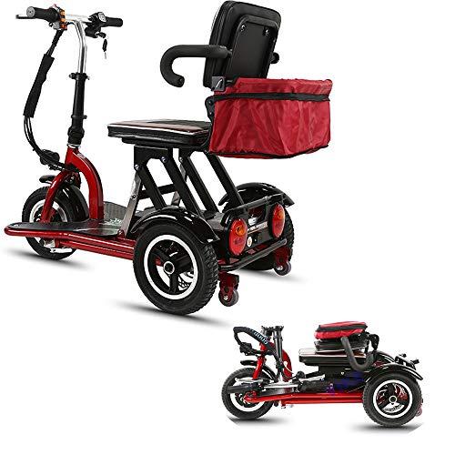 Xiaotian Elektrischer 3-Rad-Mobilitätsroller, Faltbare Dreiräder Leichte Ältere Behinderte Outdoor-Reisen Senioren-Rollstuhl-Motorroller Für Erwachsene,48V10AH/35KM