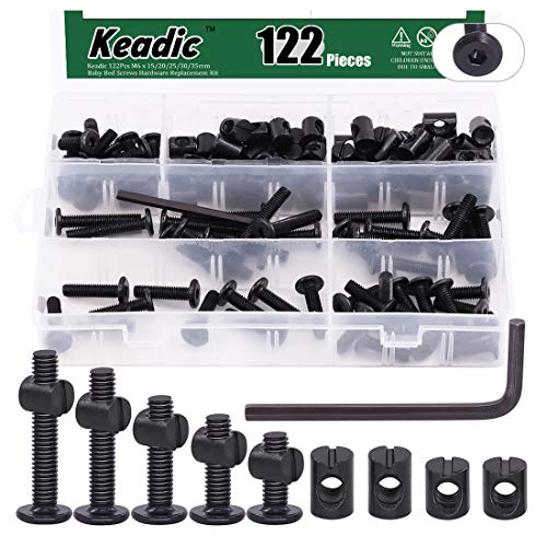 Keadic 122Pcs M6 x 15/20/25/30/35mm Baby Bed Screws Hardware Replacement Kit, Black Hex Socket Cap Bolts Barrel Nuts Assortment Kit for Furniture Cots Beds Crib, 1 Hex Key and Plastic Box for Free