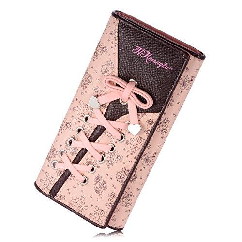 YOEEKU borsa del portafoglio Bifold da donna Coface con la chiusura lampo (Rosa)