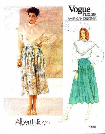 Vogue 1120 Sewing Pattern American Designer Albert Nipon Blouse & Skirt Size 10 - Bust 32 1/2