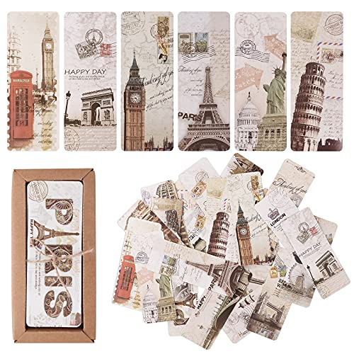 Bookmark, Retro Style Book Marker for Readers, Vintage European Scenes Travel Postcard Bookmarks Set with Eiffel Tower Big Ben & More - 30PCS Different Patterns