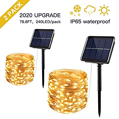 Solar String Lights Outdoor,2-Pack 240 LED 78.8FT Fairy Lights with 8 Modes & IP64 Waterproof Ideal for Garden Back-Yard Patio Decorations, Warm White