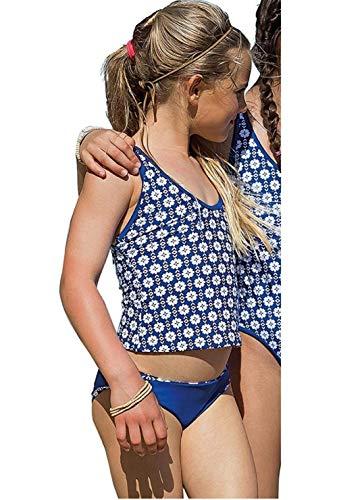 Fashy Mädchen Tankini vorne gefüttert blau/weiß Bikini Bademode Girls (116)