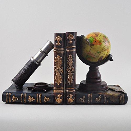 Globe & Telescoop plank Tidy boek eindigt - Heavy Vintage Opslag Hipster Office Studie CD's DVD's Reizen Exploratie Geschenken