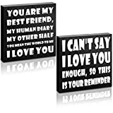 2 Pieces Wooden Love Sign Wood Best Friends Sign Small Talk Sign Wooden Box Signs I Love You Desktop Decor You Are My Best Friends Wood Block Plaque for Table Home Room Office Decor, 4 x 4 Inches