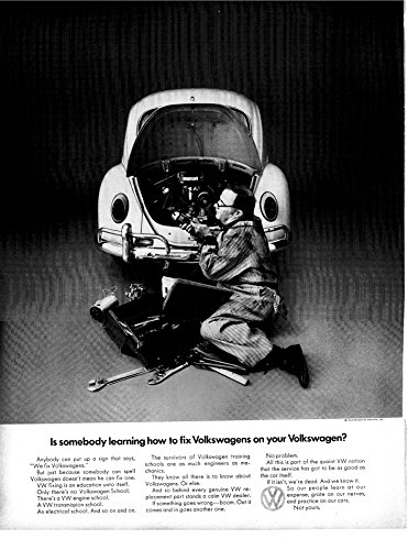 1969 VW-Beetle -Is Your Mechanic Still Learning-Original 13.5 * 10.5 Magazine Ad