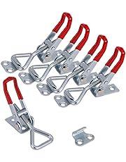 KWOKWEI Spansluiting, 5 stuks, 100 kg, 220 lbs, kleine kniehendelspanner, kistsluiting met verstelbare gesp, latch button toggle latch voor deuren, kisten, box, kast