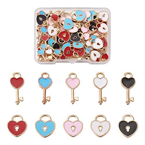 Fashewelry 100 unids/caja de aleación esmalte corazón clave y corazón cerradura colgante amor corazón metal encantos cuelgan perlas para bricolaje artesanía fabricación de joyas 13 ~ 16mm