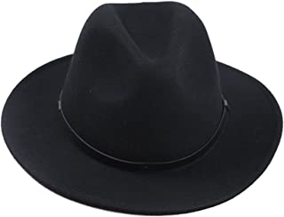 6211ab11a61 Sedancasesa Women Men s Crushable Wool Felt Outback Hat Wide Brim Fedora  Hats Black
