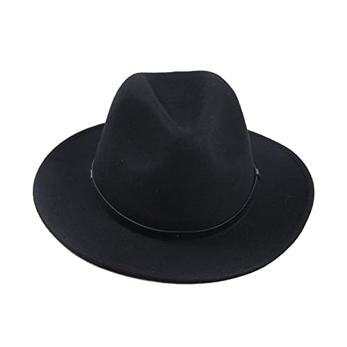 Sedancasesa Women Men s Crushable Wool Felt Outback Hat Wide Brim Fedora  Hats Black 962499095b0