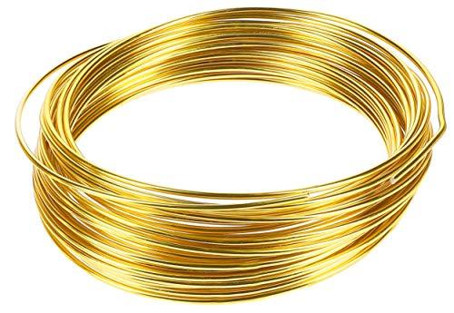mumbi 10m Basteldraht 2mm, Schmuckdraht Aludraht Dekodraht Aluminiumdraht rostfreier Draht in Gold