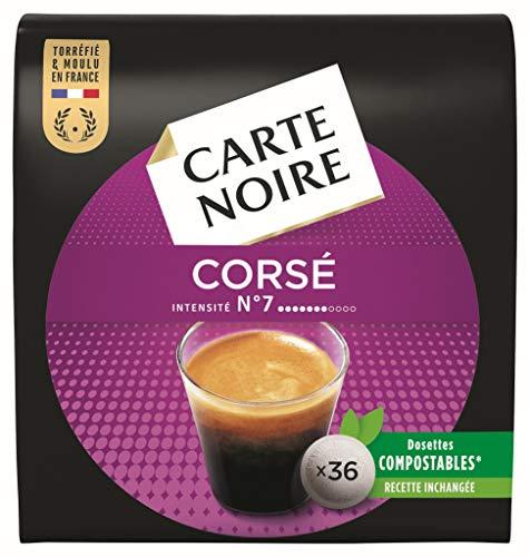 Carte Noire Expresso Corsé N°7, Café en Dosettes Compostables Compatibles Senseo, 10 Paquets de 36 dosettes souples (360 dosettes)