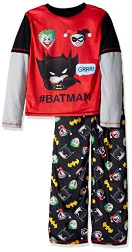DC Comics Boys' Big Superhero Long Sleeve 2 Piece Jersey Pajama Set, Batman/Joker, Medium