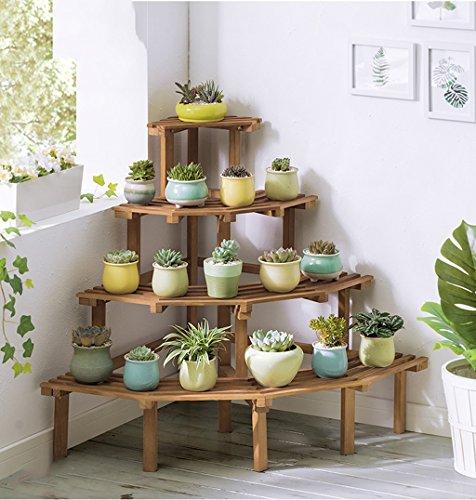 $Etagère d'exposition Étagère de coin de support de fleur de bois solide Étagère de pot de fleur de plancher de plancher de Multi-couche de balcon ( Couleur : C )