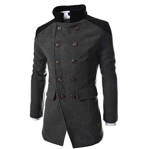 KPILP Herren Winter Zweireiher Revers Stehkragen Windjacke Trench Warm Outwear Smart Jacke Lapeled Woolen Langer Mantel(Grau, EU-46/CN-M