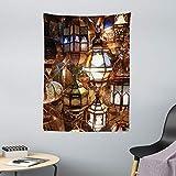 ABAKUHAUS Marroquí Tapiz de Pared y Cubrecama Suave, Tarde Linterna Arabe, Material Resistente, 110 x 150 cm, Marrón Púrpura Verde