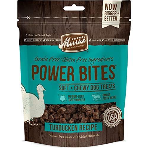 Merrick 78518 Power Bites All Natural Grain Free Gluten Free Soft & Chewy Chews Dog Treats Turducken