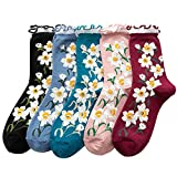 Women 5 Pairs Vintage Ruffle Frilly Cuff Ankle Socks Floral Print Casual Crew Socks Size 5-9 (Multicolor A) -  Totoci