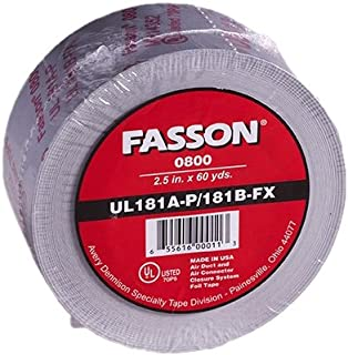 Avery Dennison Fasson 0800 Aluminum Foil HVAC Duct Tape, UL 181A-P/181B-Fx, Silver, 180 ft x 2.5 in