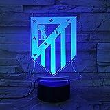 Lixiaoyuzz Lámparas De Mesa Fc Club Atlético De Madrid Led 3D Ilusión Infantil La Liga Fútbol Logotipo Los Colchoneros Lámpara De Noche Mesa Cabecera Niño