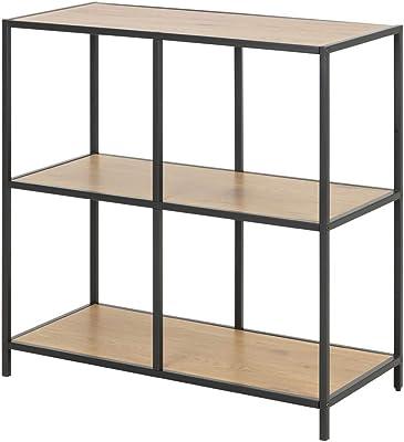 Selsey KRAPINA - Bibliothèque avec Support - 78 cm - chêne - châssis en métal - Style loft