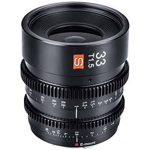 VILTROX 33 mm T1.5 Prime, objetivo cinematográfico de enfoque fijo, gran angular, compatible con cámaras Sony E Mount (aps-c, negro)