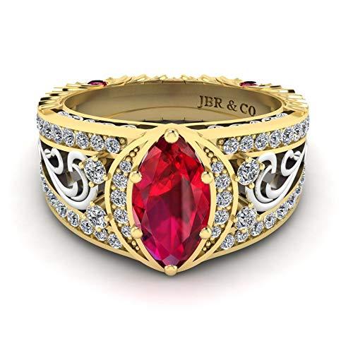 Jbr Anillo de compromiso de dos tonos con rubí sintético de corte marquesa en plata de ley, el mejor regalo para mujeres y novias con caja de joyería