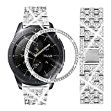 Dsytom Compatible with Galaxy Watch 42mm Band Women+ Bezel, 20mm Jewelry Stainless Steel Watchband & Bezel Ring Cover Diamond Strap Bracelet for Samsung Galaxy Watch 42mm/Gear Sport(Silver)