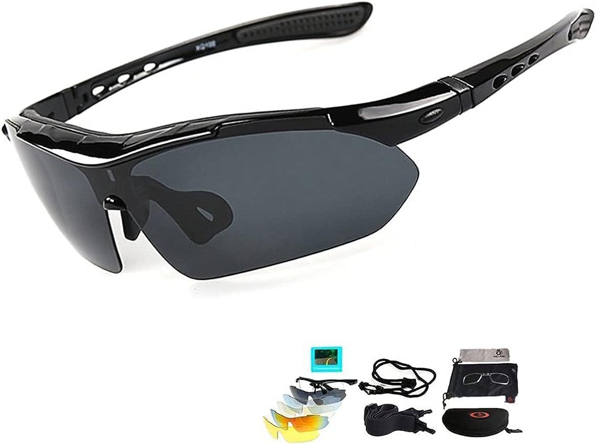 Gafas De Sol Polarizadas,Gafas de Sol Deportivas,con 5 Lentes Intercambiables UV400 Protección Antivaho Antireflejo Anti Viento,Correr Golf Beisbol Surf Conducción Esquiando 100% De Protección UV