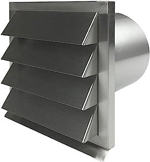 EASYTEC Außenjalousie Durchmesser 150 mm Edelstahl gebürstet mit Rückstauklappe aus Metall - Mauerkasten Abluftjalousie Lüftungsgitter Abluftgitter 150 mm