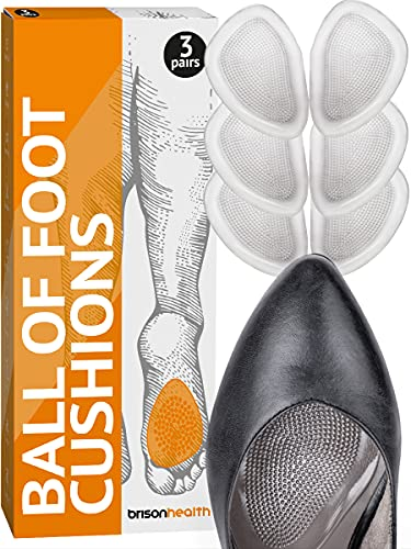 Ball of Foot Cushions for High Heels - Soft Grooved Surface Gel Insole Metatarsal Feet Pads Callus Metatarsalgia Pain Prevention no Slip Shoe Cushioning Inserts for Women