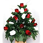 Spring Cemetery Cone Arrangement – White Mums & Red Roses