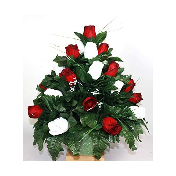 XL Classic Red And White Roses Artificial Silk Flower Cemetery Bouquet Vase Arrangement