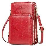 CLUCI Handy Umhängetasche Damen Klein Crossbody Clutch Leder Handytasche mit Geldbörse Damen Schultertasche mit Kartenfächer Red