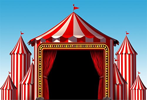 LFEEY 10x8ft Circus Photo Backdrop Red Tent Carnival Photography Background Vinyl Baby Kids Birthday Party Banner Customized Photo Booth Prop Baby Photocall