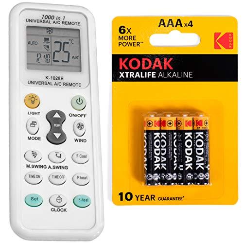 JeVx Mando Universal para Aire Acondicionado y Bomba de Calor 1000 en 1 + 4 Pilas AAA Kodak - LINTERNA Incorporada A/C Controlador de Temperatura a Distancia Splitter Climatizador Reloj Control Remoto